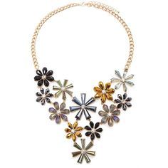 Forever 21 Flower Statement Necklace ($20) ❤ liked on Polyvore featuring jewelry, necklaces, gemstone jewelry, bib statement necklace, chain necklaces, gem jewelry and forever 21 jewelry