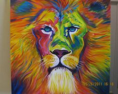 Abstract Lion Painting Acrylic on canvas Original signed Nels Johnson Can be ordered in any square dimensions Lion Painting, Painting Prints, Painting & Drawing, Art Prints, Rainbow Painting, Lion Art, Acrylic Painting Techniques, Animal Paintings, Abstract Paintings