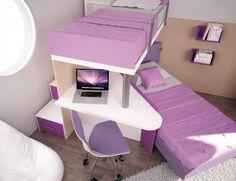 BADROOM - centri camerette specializzati in camere e camerette per ragazzi - Cameretta con Letti pensili e scrivania a 45 gradi