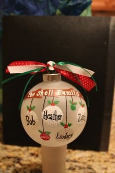 This is my TOP SELLER!!!  **PEASE NOTE** This listing is for 5-8 NAMES (balls) only. See my other listings for 2-4 or 9-12. Hand painted on a frosted glass ball. This ornament can be personalized with the names of your family, your friends family, co-workers, pets,best friends, you name it! NOTE* Different themes....horse, golf, sorority, etc. Dont see it? Just ask! I will make it for you!! Order yours today!!   Please include the names in a CONVO to me EXACTLY as youd like them to appear…