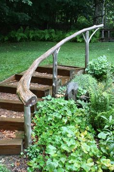 Beautiful handcrafted wooden railing - kingdom cottage garden. vermont country garden tour
