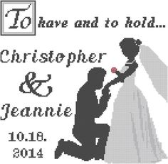 Modern cross stitch wedding pattern bride and groom on bended knee to have an to hold cross stitched wedding record
