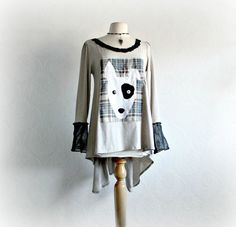 Bull Terrier Dog Beige Tunic Upcycled Clothing Bohemian Top Eco Women's Clothes Ladies Long Top Plaid Shirt Recycled Fabric Large 'SIGRID' on Etsy, $68.49