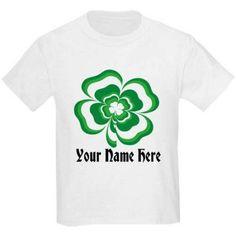 CafePress Personalized Customizable Stacked Shamrock Kids Light T-Shirt, Girl's, Size: Kids XSmall, White
