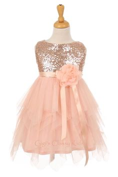 Dusty Blush colored Flower Girl Dress. Silk Bodice- silk flowers ...