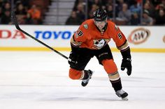 Nicolas Kerdiles 58 of the Anaheim Ducks skates up ice during the first period of a game against the Boston Bruins at Honda Center on February 22, 2017 in Anaheim, California.