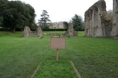 Site of King Arthur's tomb in the ruins of the Great Church at Glastonbury Abbey