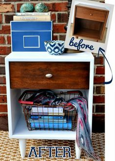Two Town Nightstand - Before and after nightstand makeover via @DIY Playbook