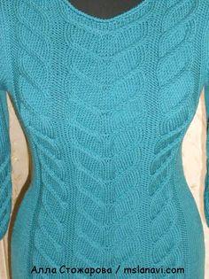 красивое вязаное платье спицами  ОПИСАНИЕ http://mslanavi.com/2014/04/krasivoe-vyazanoe-plate-ot-ally-stozharovoj/