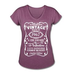 """50th Birthday Gift Ideas for Women **VELVETY PRINT** *Tri-Blend Colors* Memorable """"Made in 1967"""" design V-neck Shirt - Birthday Gift for Her by QualityBirthdayGifts"""