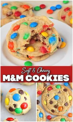 Best M&m Cookie Recipe, Cookie Recipes For Kids, Cookies For Kids, Fun Baking Recipes, Sugar Cookies Recipe, Yummy Cookies, Sweet Recipes, Homemade M&m Cookie Recipe, Desert Recipes
