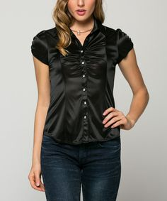 This La Scala Black Ruched Button-Up Top by La Scala is perfect! #zulilyfinds