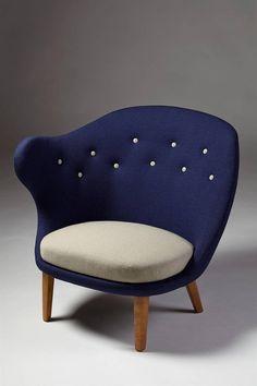 ARNE NORELL 'Thumb' Armchair, Sweden, circa 1940-49 | Original wool upholstery and wood | M O D E R N I T Y of Stockholm