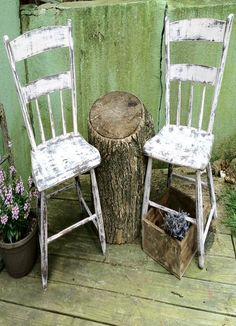 Old Kitchen Chairs & Tree Stump Table