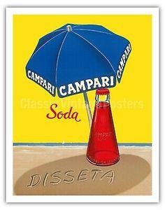 Premium Giclee Print: Campari Soda - Hydrates (Disseta) - Blue Beach Umbrella by A. Vintage Italian Posters, Pub Vintage, Vintage Advertising Posters, Vintage Labels, Vintage Travel Posters, Vintage Advertisements, Poster Vintage, Retro Posters, Retro Ads