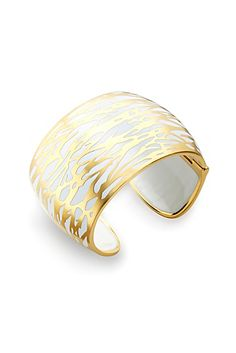 Twig Hinged Wide Cuff Bracelet In White/gold
