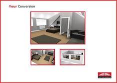 Loft Conversion Plan and Design Loft Conversion Plans, Open Plan Kitchen, 3d Design, Cover Photos, Minimalism, Attic Ideas, Layout, Shower, How To Plan