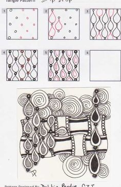 Drip-drop~Zentangle (I like the variation on the hatch pattern)