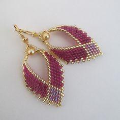 Russian Leaf Earrings    Magenta/Raspberry by pattimacs on Etsy