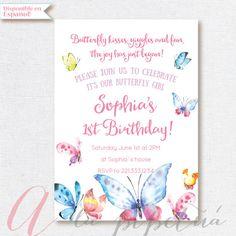 Butterfly Invitation Birthday Party. Butterflies party invitation. Butterfly birthday.Butterfly Party. Printable invitation.