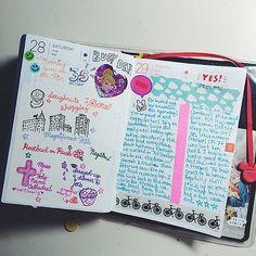 #hobonichi 06.28-29.14 #powerpuffkay #kayshobonichi #diary #journal #planner #techo #notebook #kawaii #doodle #city #cute #colorful #cocktail #cinderella #bike #triathlon #handwriting #chicago #busyday #summer | by powerpuffkay