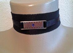 """Textilschmuck - """"Silver Plaque"""" Halsband 4-10 - ein Designerstück von ikimmis-passion bei DaWanda"""
