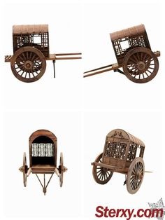 This handmade scale model features Qin-Dynasty two-wheeled carriage in ancient China, which was the most important vehicle drawn by mule, horse and donkey at that time. The refined model is worth collecting to memorize the bygone Chinese culture. Qin Dynasty, Wooden Wheel, Ancient China, Chinese Culture, Chinese Style, Traditional Design, Scale Models, Home Accessories, How To Memorize Things