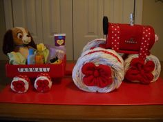 Farmall Tractor and Wagon Diaper Cake by ShelvasDiaperCakes, $85.00