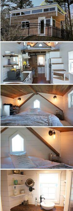 Small 204 sq ft farmhouse-style tiny house! | Tiny Homes