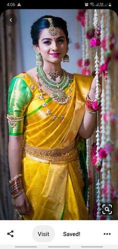 17 Super Ideas How To Wear Necklaces Blouses Bridal Silk Saree, Silk Sarees, Kanjivaram Sarees, Indian Sarees, Indian Bridal Outfits, Indian Dresses, Wedding Saree Blouse Designs, Wedding Sarees, Wedding Blouses