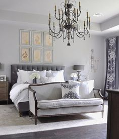 Beautiful Bedroom With Gray And White Bedding