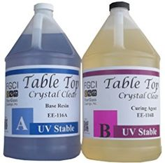 Epoxy Table Top Resin, 1:1, 2 Gallon Kit, Crystal Clear, Parts A & B Included