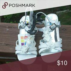 Shoes White 1/2 inch heel girl's sandal Health Tex  Shoes Sandals & Flip Flops