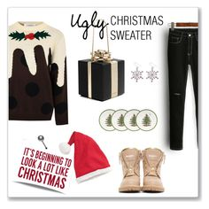 """""""Ugly Christmas sweater"""" by depolo-marina ❤ liked on Polyvore featuring Glamorous, Balmain, Kate Spade, Sixtrees, Hanna Andersson, Spode and uglychristmassweater"""