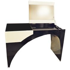 Black Lacquer White Leather (for The Black White Addicted Divas), C.  Modernist Dressing Table, Sits On Round Bronze Pole Shaped Feet W/ Keyhole  Opening, ...