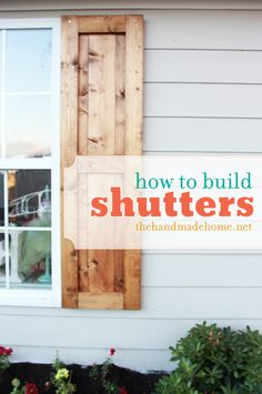 how to build shutters (diy shutters) a look at handmade shutters. simple diy curb appeal at a fraction of the price. If you love arts and crafts you will enjoy our site! Home Design, Design Room, Design Design, Design Ideas, Diy Shutters, Exterior Shutters, Modern Shutters, Rustic Brick House Exterior, Homemade Shutters