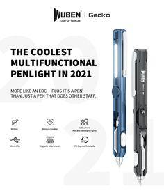 WUBEN® Gecko E61 EDC Pen Rechargeable Multi-functional Cool Gadget Everyday Carry Penlight Flashlight 2021 Latest EDC Item Red Light Flashlight, Self Defense Flashlight, Broken Window, Tactical Pen, Pen Refills, Torch Light, Edc Gear, Everyday Carry, Gel Pens