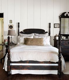 """Quick tip: Easily """"age"""" furniture with a coat of paint and a sanding block.     #bedroom #decorating"""