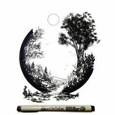 Drawing Ink Pen and Ink artwork by Derek Myers. Kunst Tattoos, Body Art Tattoos, Tatoos, Zen Tattoo, Inspiration Art, Art Inspo, Pen Art, Ink Drawings, Oeuvre D'art