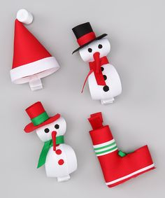 Take a look at this Snowy Specialty Bow Set by Bourbon Street Boutique on today! Ribbon Hair Clips, Ribbon Art, Diy Hair Bows, Ribbon Crafts, Ribbon Bows, Hair Ribbons, Making Hair Bows, Bow Making, Christmas Hair Bows