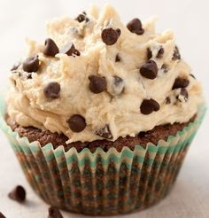 Brownie Cupcakes with Cookie Dough Frosting | Recipe