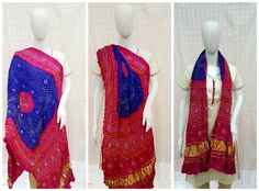 Bright & Vibrant Blue - Pink Bandhani Dupatta A unique combination of bright blue with pink. A dual concept dupatta which when worn with traditional wear gives authentic Indian look and when worn with western wear gives modern look. Small & Fine yellow & white bandhani dots are highlighted by the bright colors.  Traditional Lagdi patto pattern (Broad Zari Border) gives it traditional yet modern look. A must have for today's working women call/whatsapp -  9377399299 #bandhanidupatta