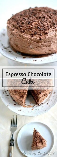 Espresso Chocolate Cake - Chocolate and Coffee – the unbeatable combination comes together in this Espresso Chocolate Cake, where every bite is delightful! http://www.cookingcurries.com