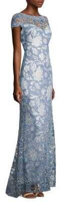 Tadashi Shoji Short-SleeveLace Gown #afflink