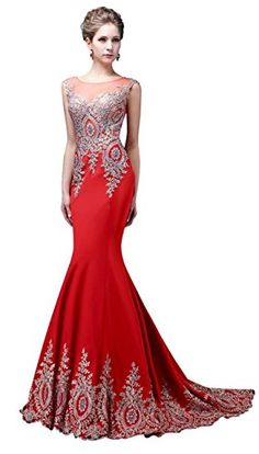 Factoryoffers Mermaid Evening Dresses Appliques Beaded Lace Crystals Long Gowns * You can get additional details at the image link.