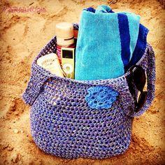 Handmade Crocheted Beach Bag Market Tote Handbag 100 by YARNutopia, $20.00