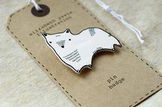 corgi brooch - by elizabeth pawle - modern design - hand drawn hand cut - black and white illustration pin badge byElizabethPawle, via Etsy.