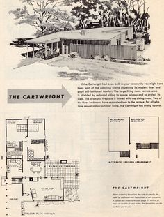 Exhibit homes: from the works of samuel paul, a. Vintage House Plans, Modern House Plans, House Floor Plans, Vintage Homes, Mcm House, Tiny House, House Plans With Pictures, Mid Century Exterior, Facade Architecture