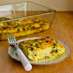 Recipe for Broken Arm Breakfast Casserole with Cottage Cheese, Bacon, Feta, and Green Onions from Kalyn's Kitchen