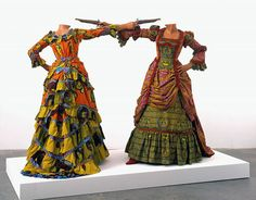 """Duelling while headless.   Yinka Shonibare, """"How to Blow up Two Heads at Once (Ladies), 2006."""